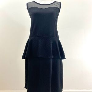 Pinc Textured Black Peplum dress - 3X